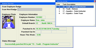 Time and Attendance screen example