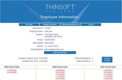 Payroll portal screen example